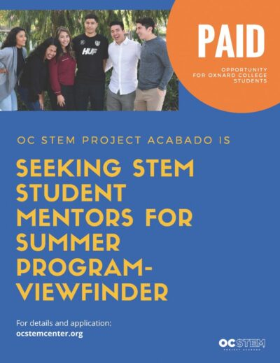 Submit an application for Oxnard College- Student Worker by clicking on image.  We will review applications March 2020.  Once you complete the application, print out a copy, sign the application, and turn the signed application to STEM staff, Brandon Fullner located in the OC Library (LLRC) downstairs Room #118. Pay for STEM mentors: