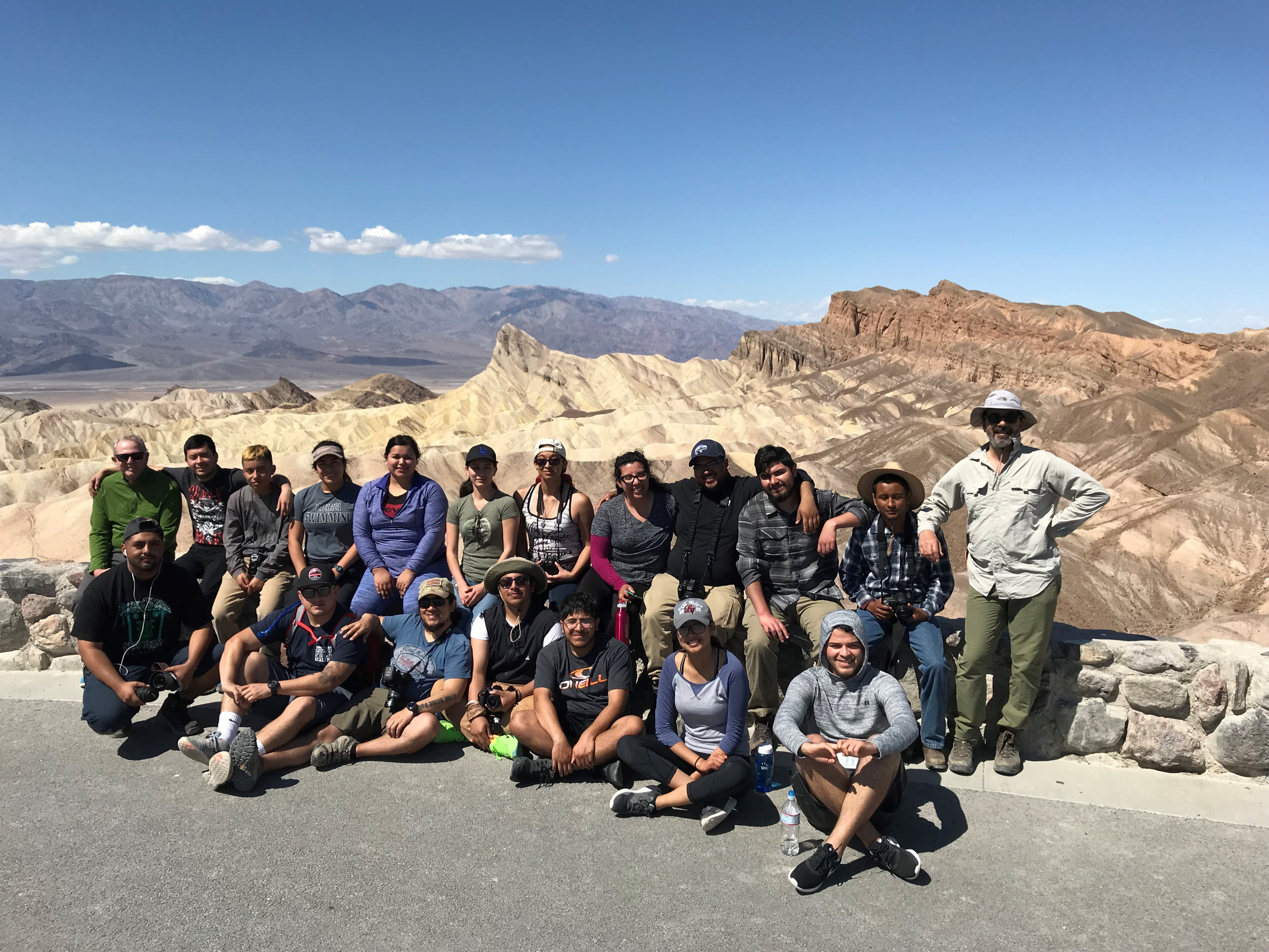 Danza class group photo of Death Valley Fieldtrip